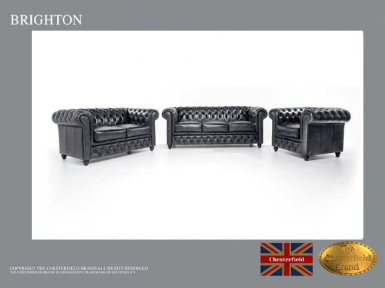 Canapé Chesterfield Antique Bleu 3+2+1