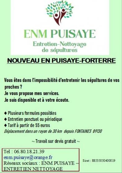 Annonce occasion, vente ou achat 'ENTRETIEN-NETTOYAGE DE SEPULTURES'