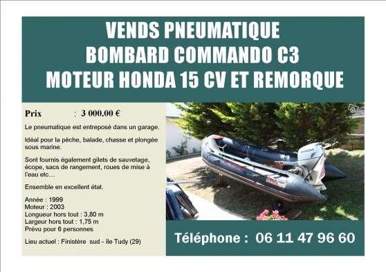 Annonce occasion, vente ou achat 'Bombard Commando C3 - Honda 15cv - remor'