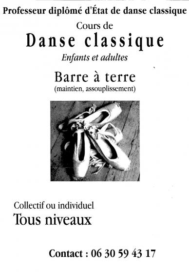 Annonce occasion, vente ou achat 'cours danse classique et barre a terre'