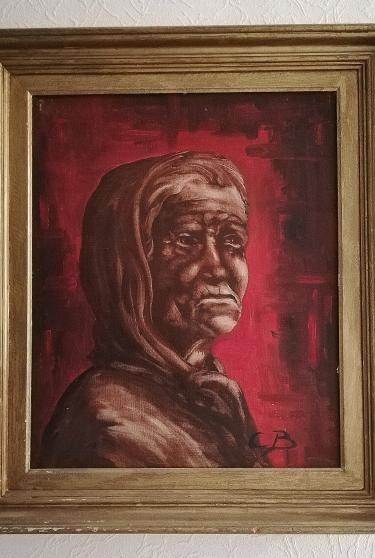 Portrait à l'huile, Signé CB