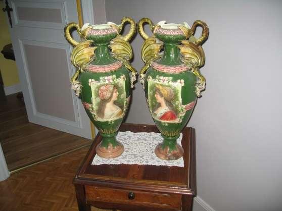 paire de vases barbotine
