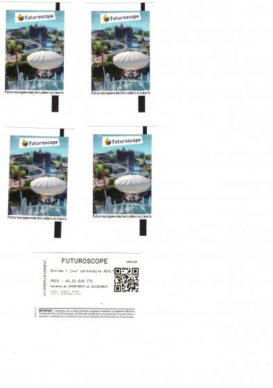 Annonce occasion, vente ou achat 'FUTUROSCOPE/BILLETS ADULTES'