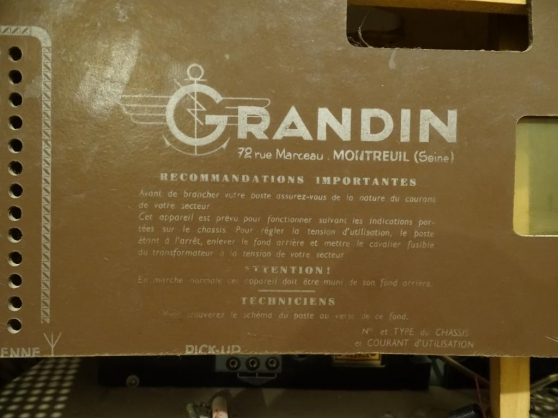 Vends Radio Cristal Grandin 1955 - Photo 2