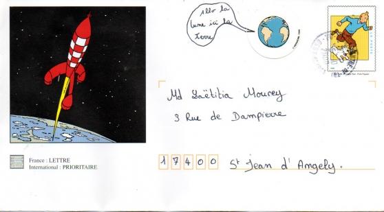 Enveloppe décorée Tintin