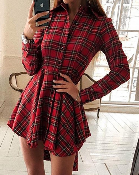 Bouton Plaid Imprimer Up Robe chemise ir