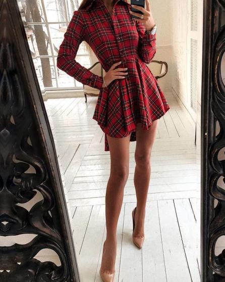 Bouton Plaid Imprimer Up Robe chemise ir - Photo 2