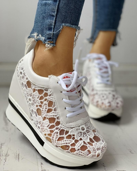 Dentelle Splicing Muffin Sneakers Casual