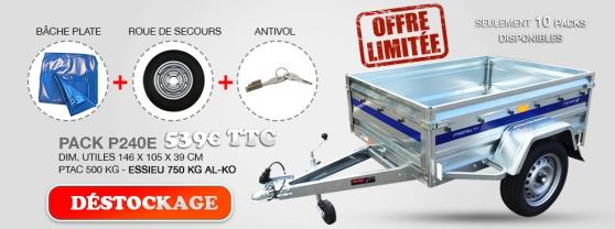 Déstockage remorque 500KG + accessoires