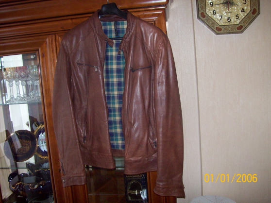 Blouson cuir marron homme Taille 56