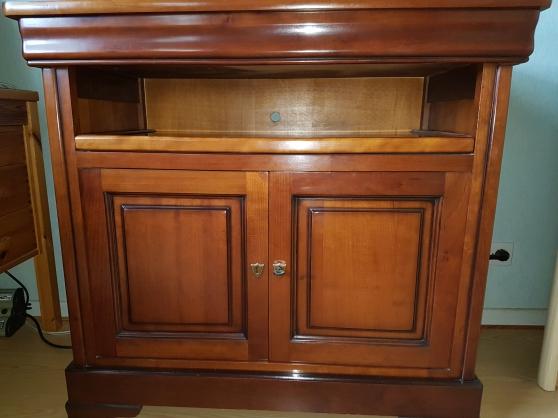 Meuble t l hifi en merisier fran ais ma houssen meubles for Meuble tele armoire