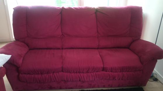 Canapé 3 places + 2 fauteuils rouge