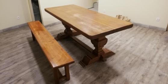 Table et banc en chêne massif style mona