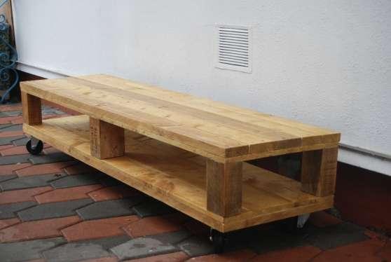 Meuble télé palettes bois, 2 plateaux, r