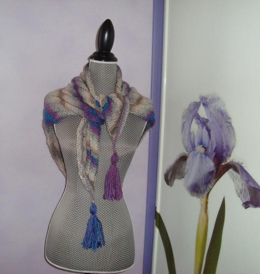 Châle Liseuse en laine gris bleu violet