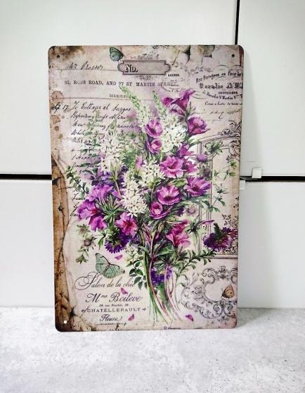 Plaque métal imprimée fleurs des champs.