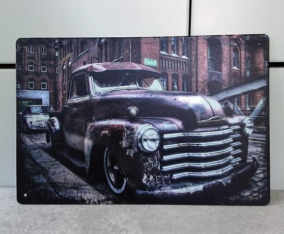 Annonce occasion, vente ou achat 'Plaque métallique imprimée pick-up style'