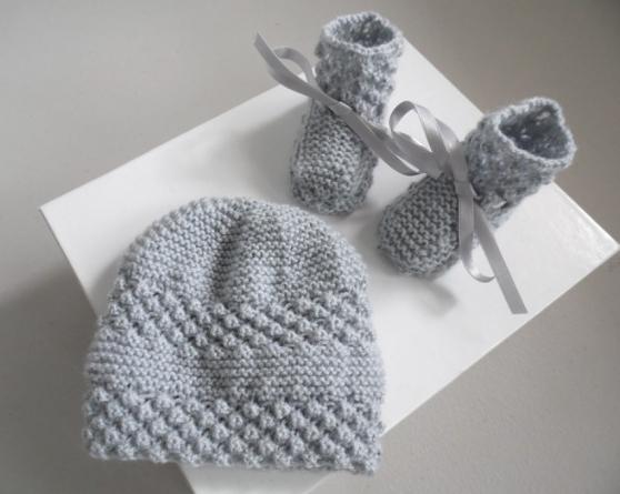 Annonce occasion, vente ou achat 'Bonnet chaussons GRIS tricot laine fait'