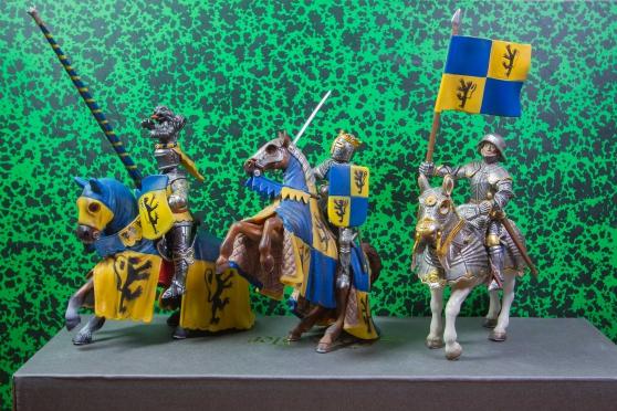 3 chevaliers bleu et jaune - schleich - Annonce gratuite marche.fr