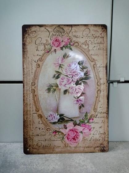 Annonce occasion, vente ou achat 'Plaque métallique imprimée, roses en pot'