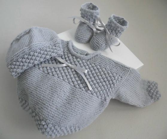 Annonce occasion, vente ou achat 'Trousseau Gris bébé tricot fait main'