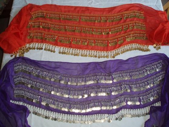 Ceintures violette et orange de danse or