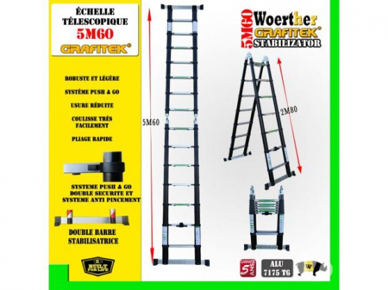 Petite Annonce : Echelle télescopique 5m60 - Description Les échelle télescopique Woerther sont fabriquées en