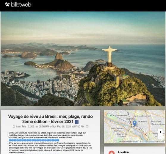 2 billets voyage Brésil 15 au 28 février