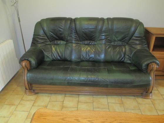 canapé + 2 fauteuils en cuir vachette