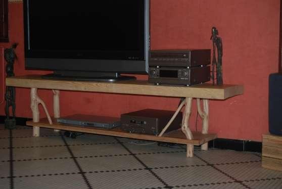 Meuble TV bois recyclé et branches