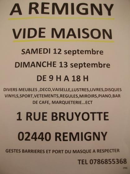 Annonce occasion, vente ou achat 'Vide maison a remigny 12 et 13 septembre'