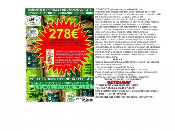 Annonce occasion, vente ou achat 'pellets DINplus et ENPLUS A1'