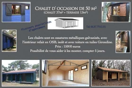 Chalet en bois 50 m2 immobilier a vendre mobil home chalets jau dignac et loirac reference - Chalet de jardin occasion a vendre ...