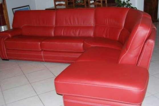 Canapé d angle cuir rouge MEUBLES DéCORATION CANAPéS  St etienne