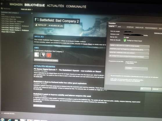 Annonce occasion, vente ou achat 'Vends compte steam 6 jeux Call of duty'