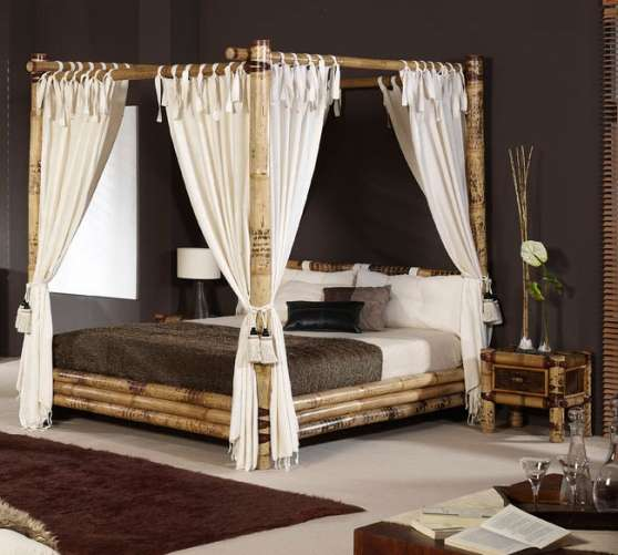 Lit a baldaquin en bambou meubles d coration chambres coucher paris re - Meuble bambou pas cher ...