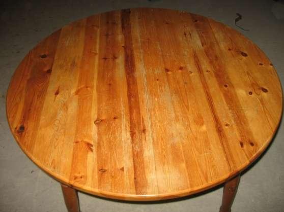 Table ronde en pin massif rallonge int bordeaux meubles - Table en pin ronde ...