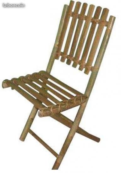 Table carrée, banc et chaise en bambou - Photo 2