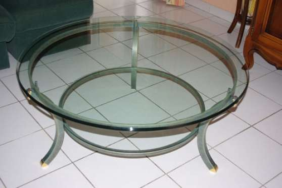 Vend table basse ronde en verre st vincent meubles for Table basse en verre ronde