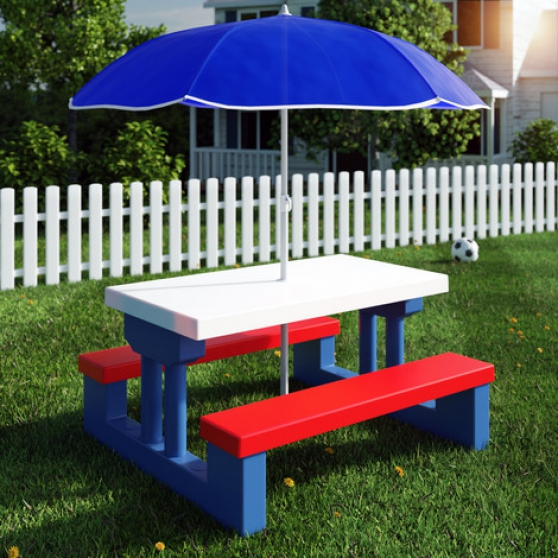 Ensemble bancs table parasol enfants