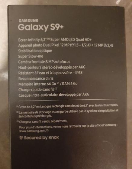 Annonce occasion, vente ou achat 'SAMSUNG Galaxy S9+ double Sim 64Go Bleu'