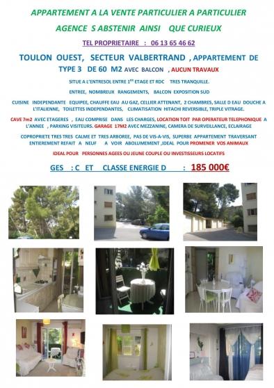 appart t3 garage Toulon ouest