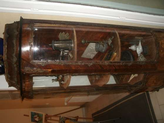 vitrine galbée napoleon 3 en palissandre