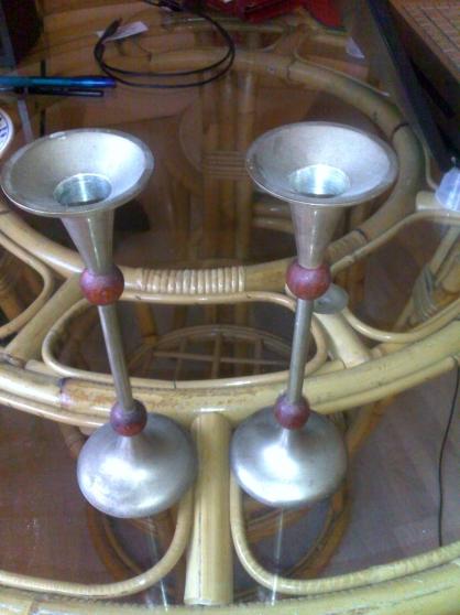 2 Bougeoirs bois et métal
