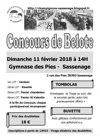 concours de belote 11 février 2018 - Annonce gratuite marche.fr