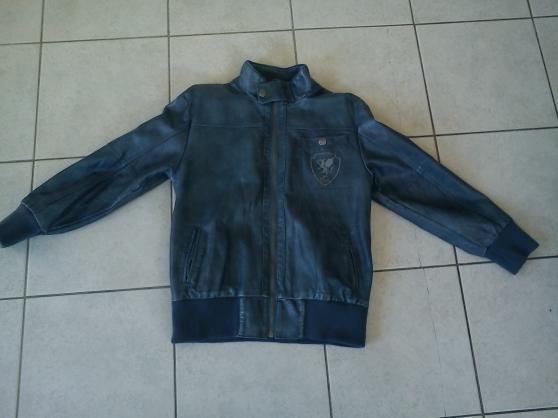 Veste bleu gris 12 ans immitation cuir