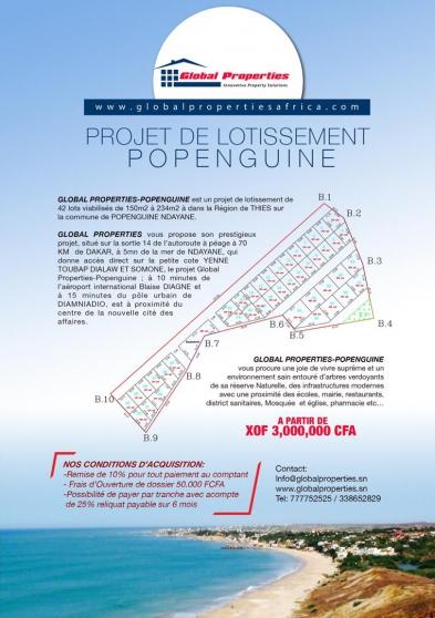 Annonce occasion, vente ou achat 'vente de terrain à popenguine'