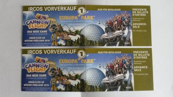 Petite Annonce : 2 billets europa-park 2016 - Vends 2 billets Europa-Park 2016, valeur unitaire 44.50 € cédé 38€ le