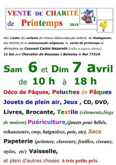 vente de charité de printemps - Annonce gratuite marche.fr