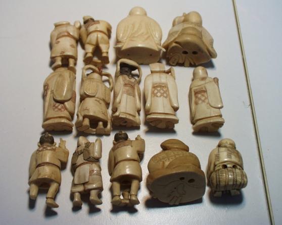 Collection de 11 okimono et 3 netsuke an - Photo 2